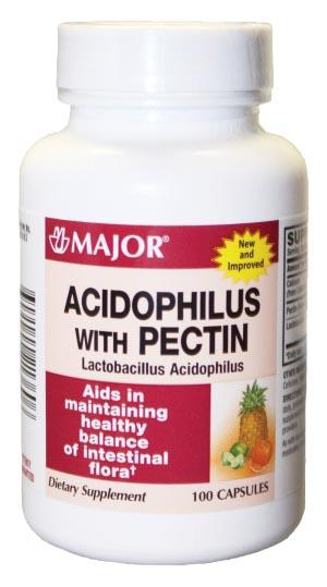 Major Acidophilus, Pectin, Caplets, 100s, 24/cs, NDC# 00904-4213-60 Digestive Su